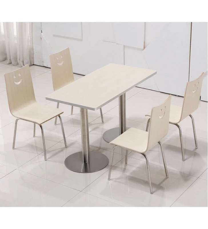 1.2m long restaurant table + 4 chairs, white