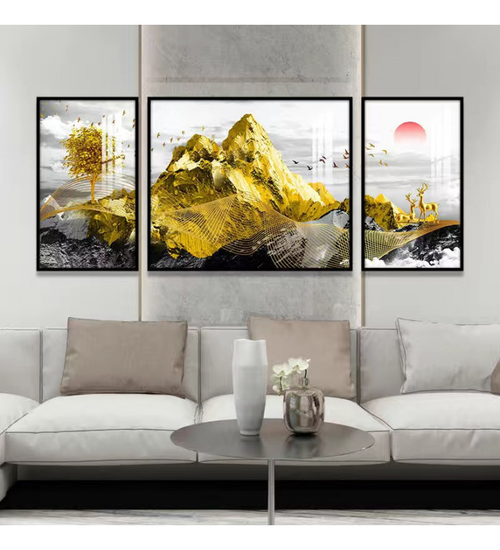 Gold mountain 01 Crystal painting For background of a couch