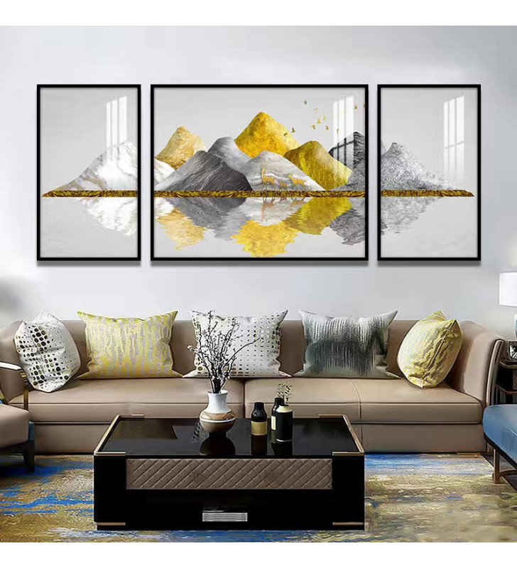 Gold mountain 02 Crystal painting For background of a couch