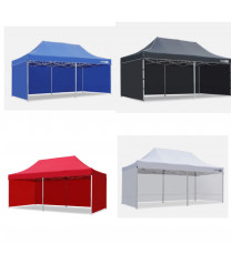 3*6m Much Stronger Gazebo with walls,  Blue, red, white, black